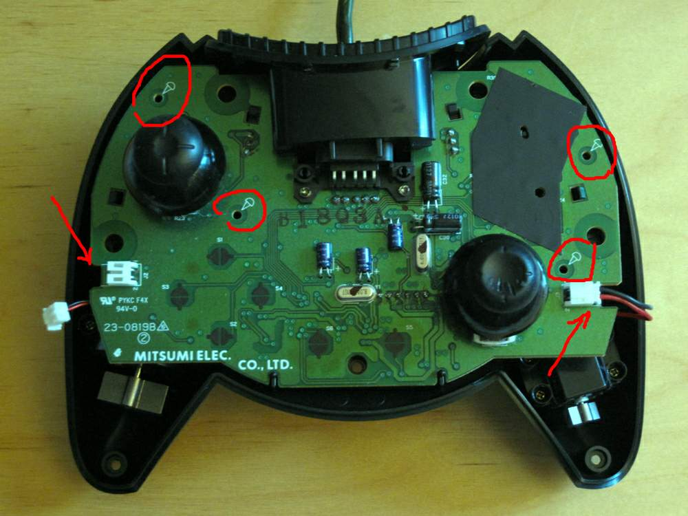 PCB screws marked, connectors indicated